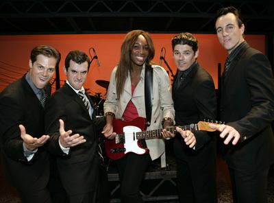 Venus Williams meets Stephen Mahy, Bobby Fox, Scott Johnson and Glaston Toft from Jersey Boys