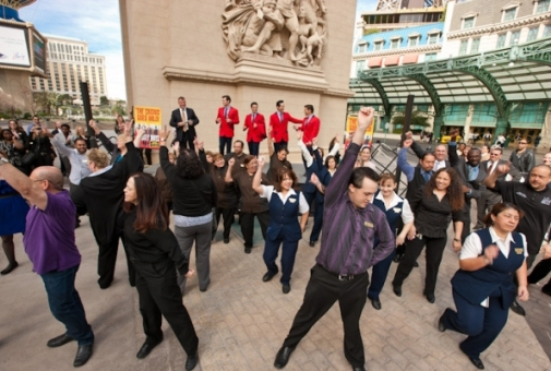 A flash mob greets the Jersey Boys at Paris Las Vegas