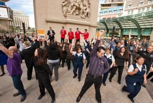 A flash mob greets the Jersey Boys at Paris Las Vegas