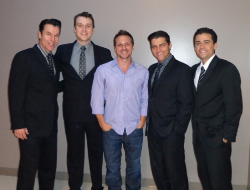 Drew Lachey (Center) with Jersey Boys - Douglas Crawford, Rob Marnell, Deven May, Graham Fenton